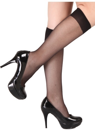 Pierre Cardin 6 Çift Paket Likralı Parlak Dizaltı Çorap Siyah